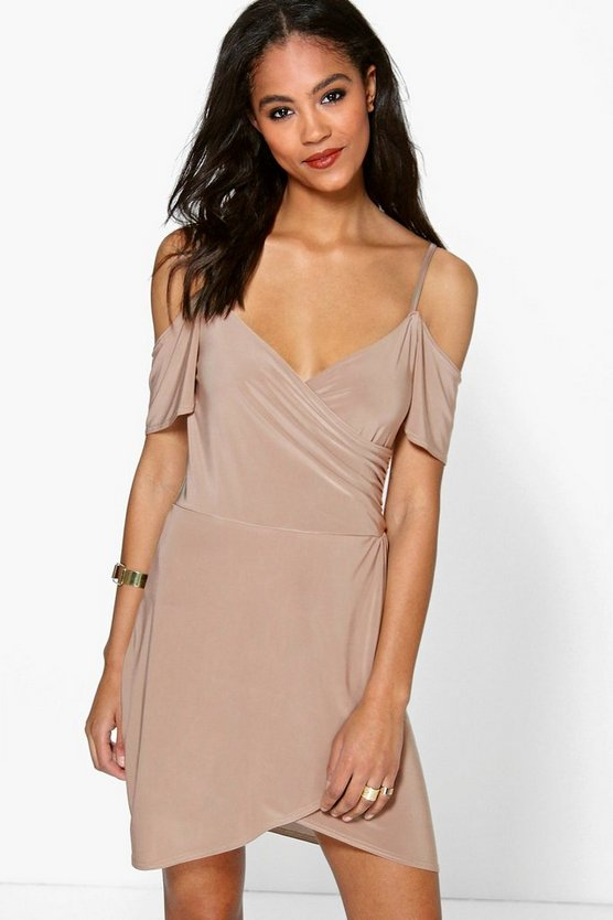 Womens Mocha Pia Strappy Cold Shoulder Wrap Bodycon Dress