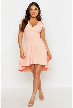 Apricot Bardot Plunge High Low Skater Dress