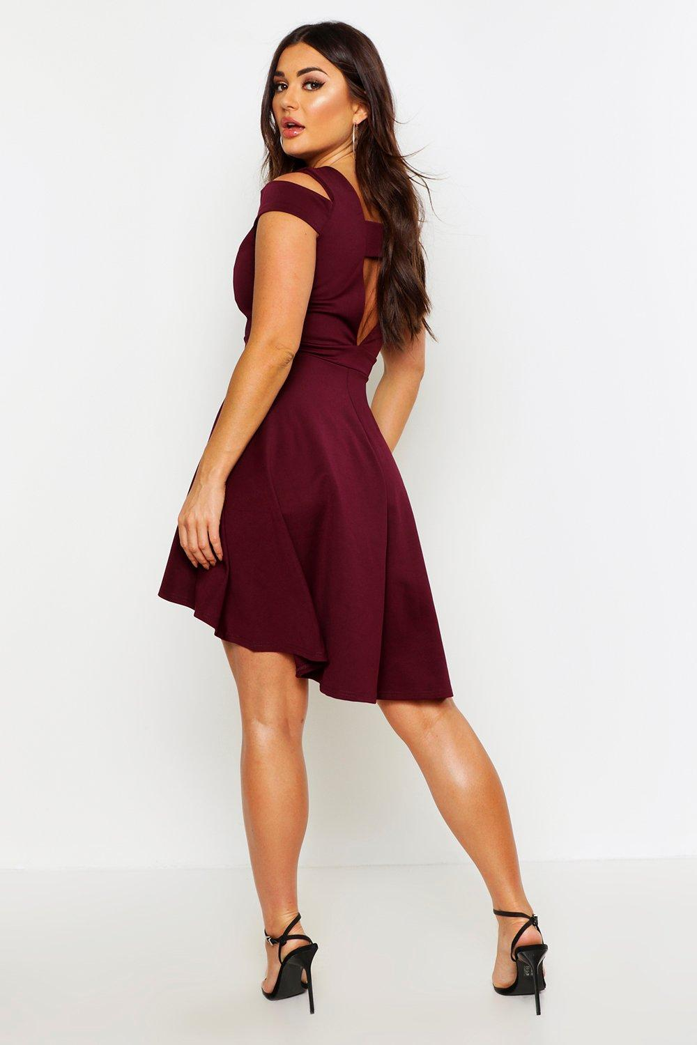 06d83732366e Bardot Plunge High Low Skater Dress | Boohoo