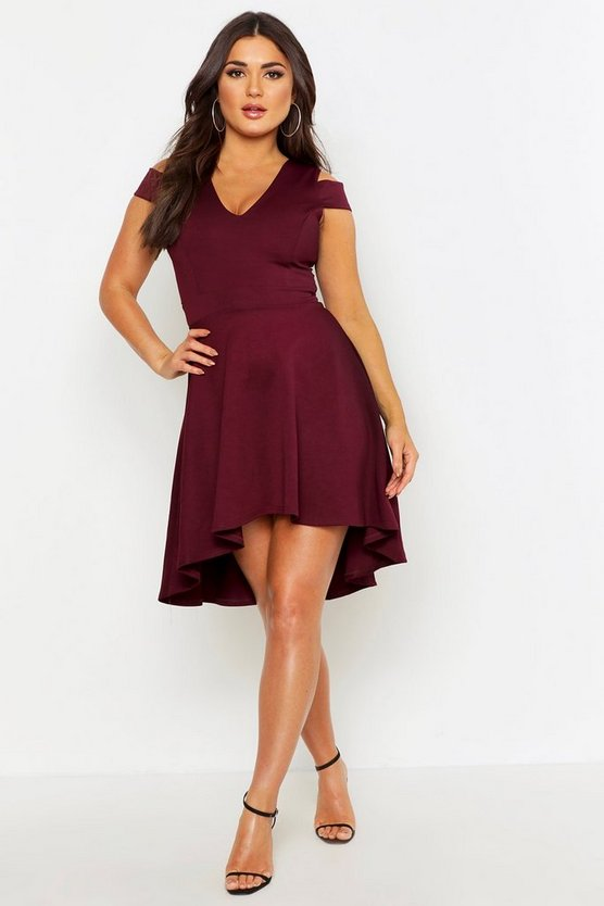 Womens Berry Bardot Plunge High Low Skater Dress