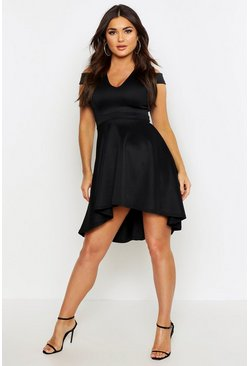 Black Bardot Plunge High Low Skater Dress