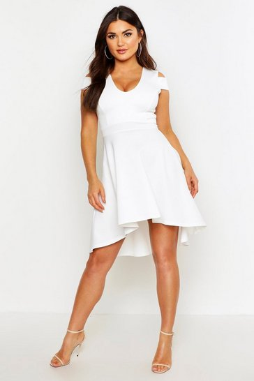 Womens Ivory Bardot Plunge High Low Skater Dress