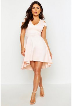 Nude Bardot Plunge High Low Skater Dress
