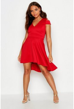 Womens Red Bardot Plunge High Low Skater Dress
