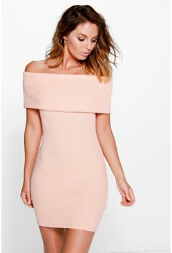 Womens Apricot Brigitte Oversized Bardot Bodycon Dress