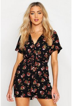 Womens Multi Floral Tie Waist Wrap Tea Dress