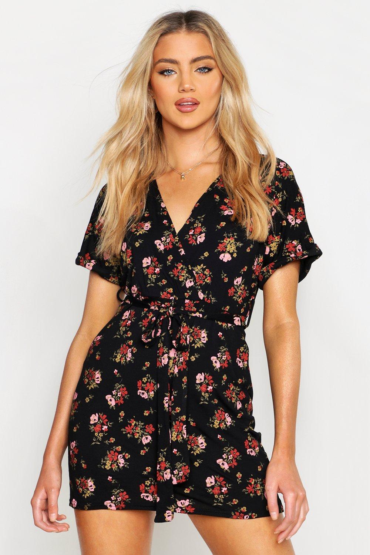 206609b6b1f6 Floral Tie Waist Wrap Tea Dress. Hover to zoom