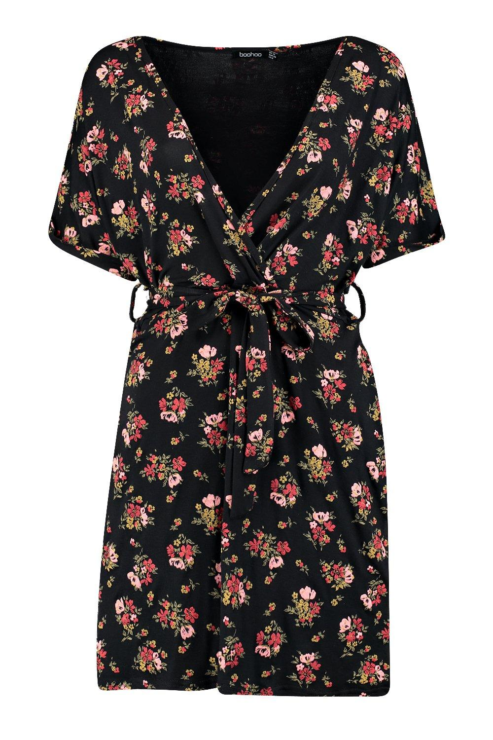 8b6cb0cee020 Boohoo Womens Violette Floral Tie Waist Wrap Tea Dress | eBay