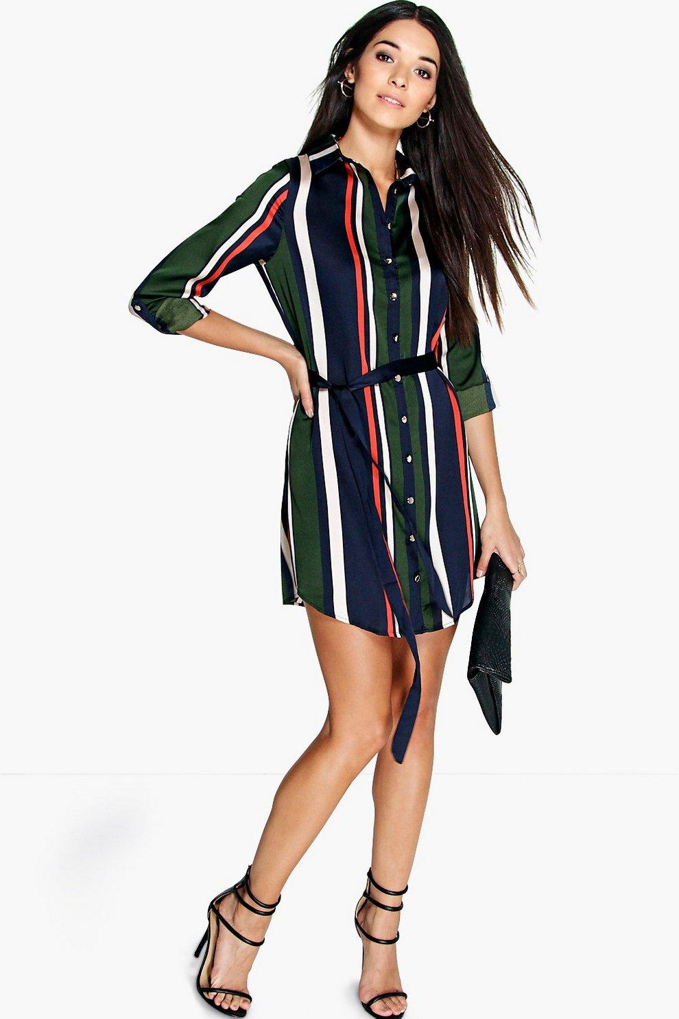 16f482b6e188 Rebecca Striped Shirt Dress | Boohoo