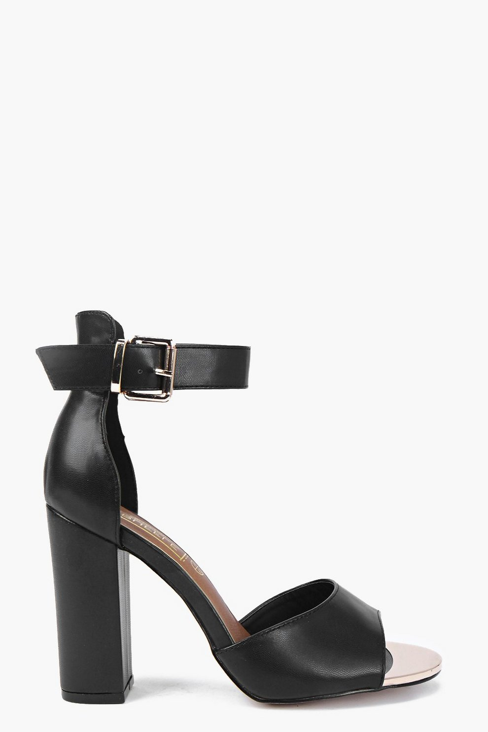 f883fc4d755 Mia Block Heel Metal Toe Peeptoe