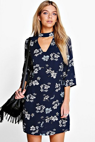 Womens Midnight Anita Bohemia Floral Cut Out Shift Dress