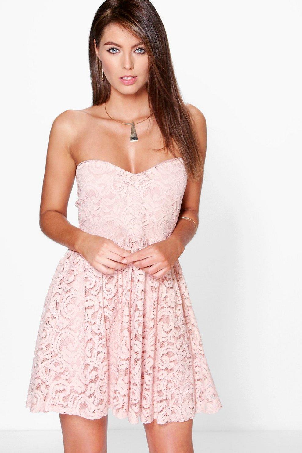 plutôt cool sélectionner pour dernier jolie et colorée Felicity Lace Bandeau Skater Dress   Boohoo