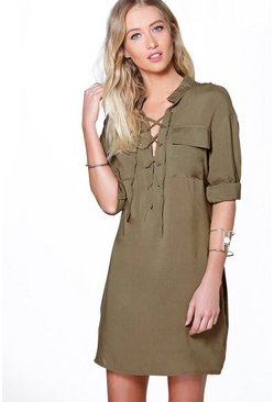 Womens Olive Arianna Lace Up Utility Pocket Shirt Dress