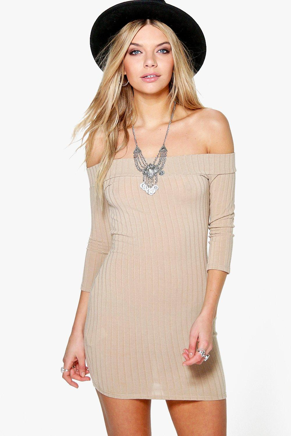 40db466f7fa1 ... Ribbed Off The Shoulder Bodycon Dress. Hover to zoom