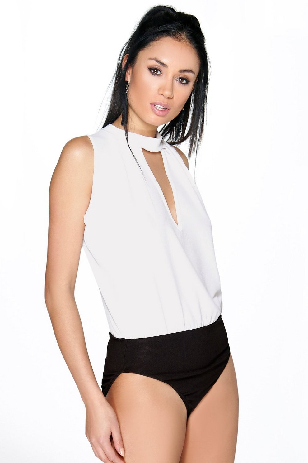 f3ded0b95963 Megan High Neck Open Front Bodysuit | Boohoo
