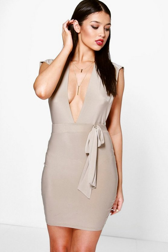 Stassy Plunge Tie Front Drape Back Bodycon Dress