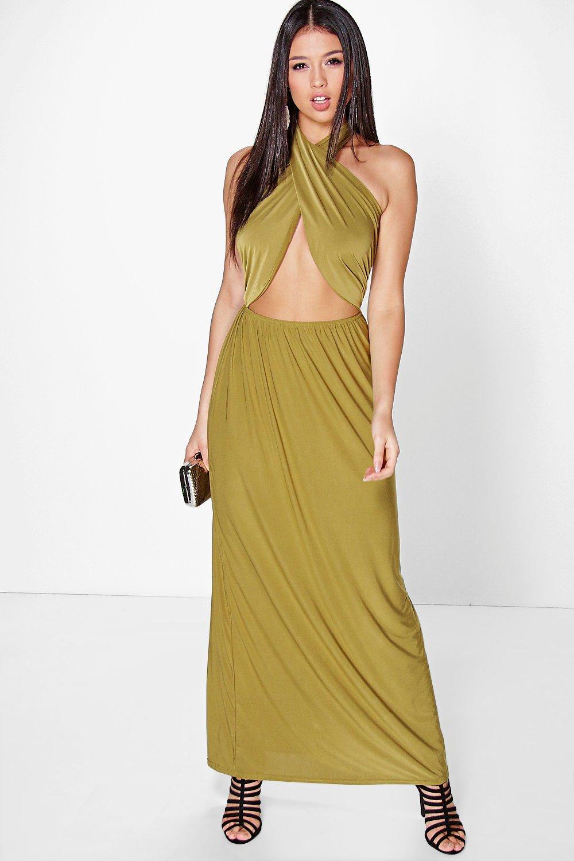 Cara Twist Front Halterneck Maxi Dress
