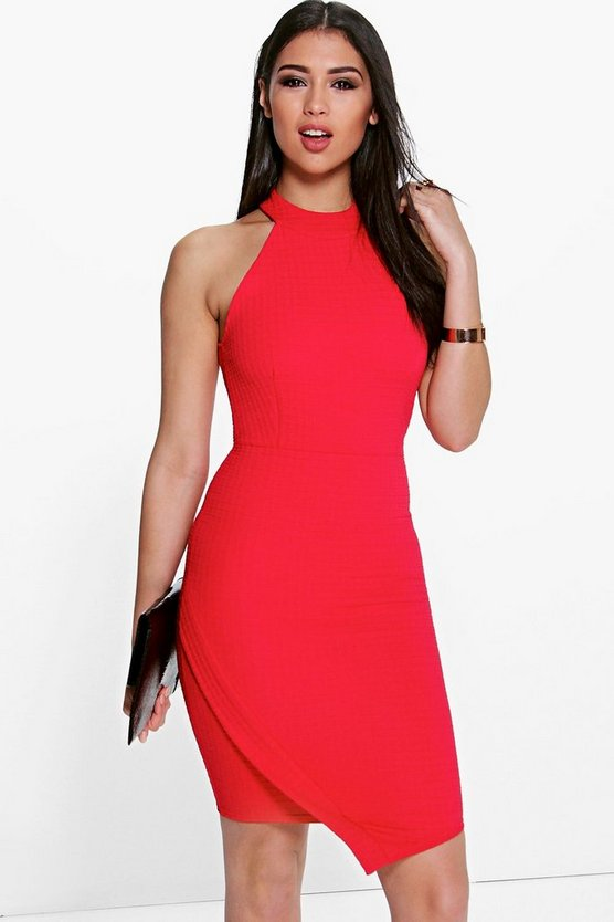 Mai High Neck Asymmetric Wrap Bodycon Dress
