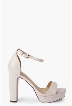 Womens Nude Two Part Platform Heels