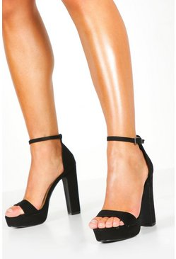 Womens Black Two Part Platform Heels