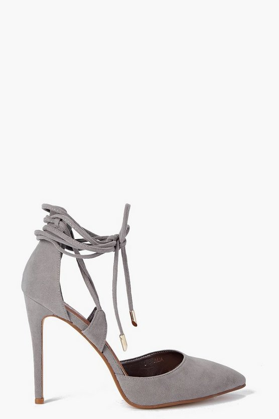 Womens Grey Pointed Wrap Strap Court Shoes