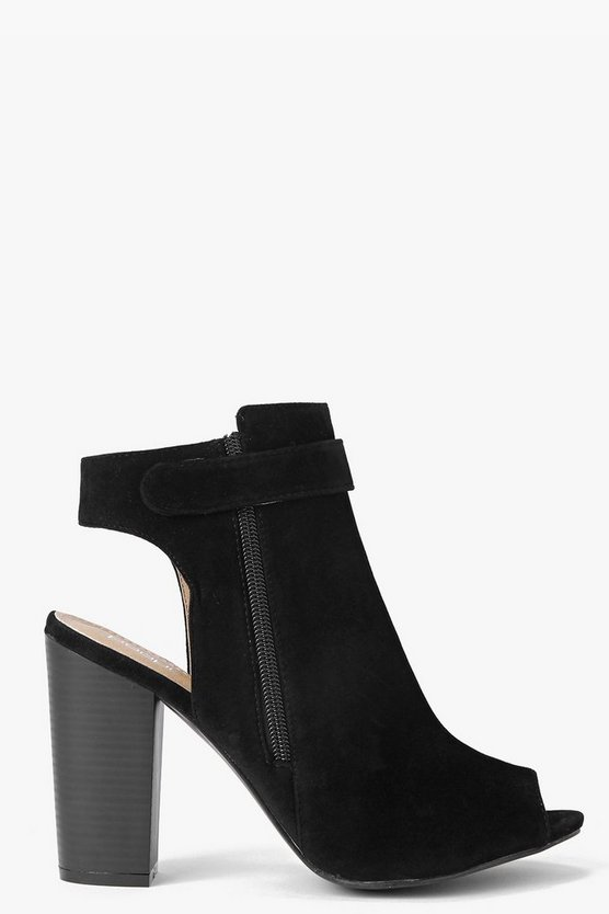 Womens Black Open Back Peeptoe Shoe Boots