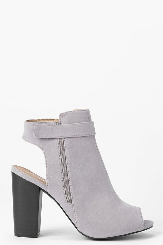Womens Grey Open Back Peeptoe Shoe Boots