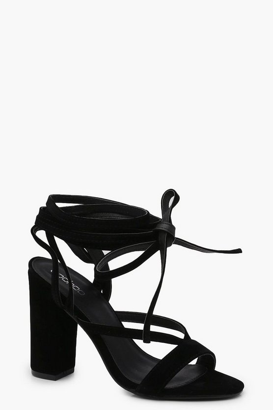 Womens Black Wrap Strap Two Part Block Heels