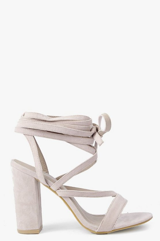 Womens Nude Wrap Strap Two Part Block Heels