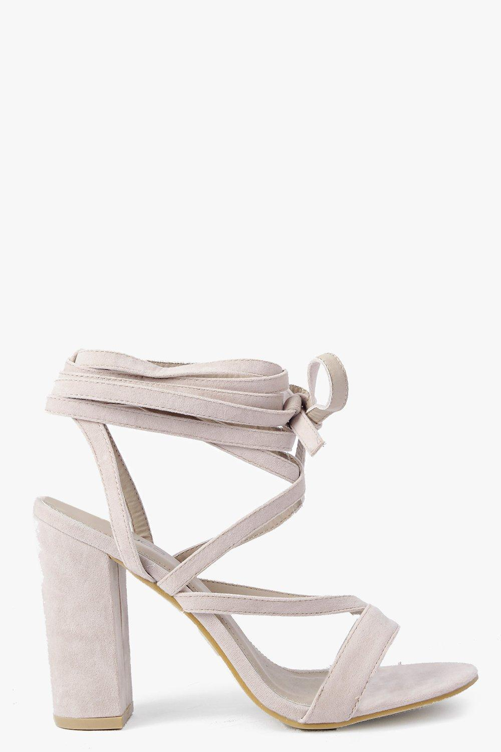 87fc0c1f06f6 Womens Nude Wrap Strap Two Part Block Heels. Hover to zoom