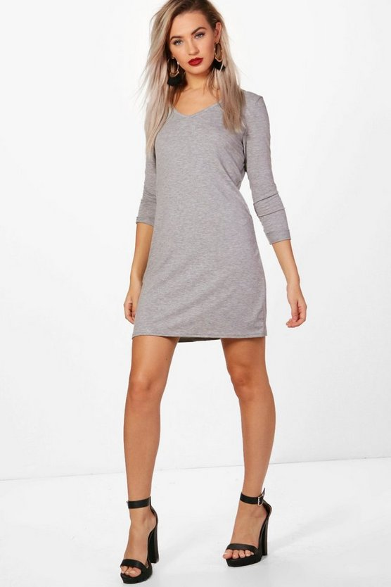 V Neck T-Shirt Shift Dress