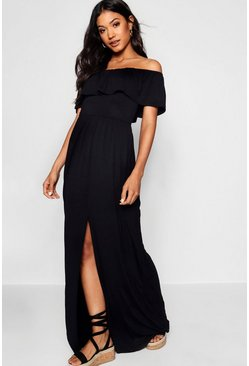 Womens Black Ruffle Bandeau Slip Front Maxi Dress