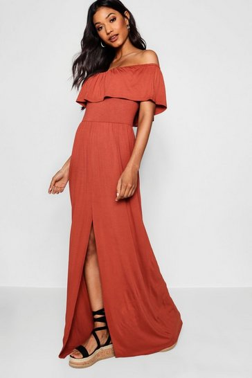 Womens Chestnut Ruffle Bandeau Slip Front Maxi Dress