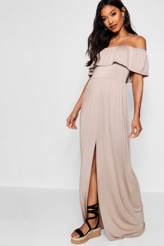 Womens Sand Ruffle Bandeau Slip Front Maxi Dress