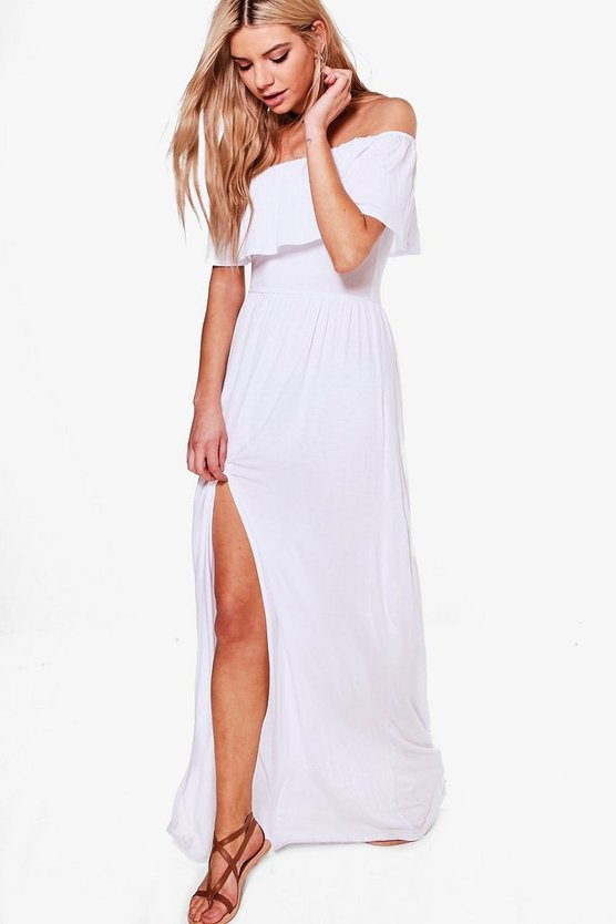Womens White Ruffle Bandeau Slip Front Maxi Dress