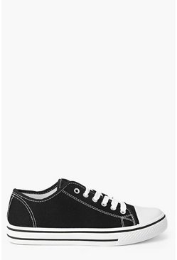 Womens Black Lace Up Canvas Flat Trainers