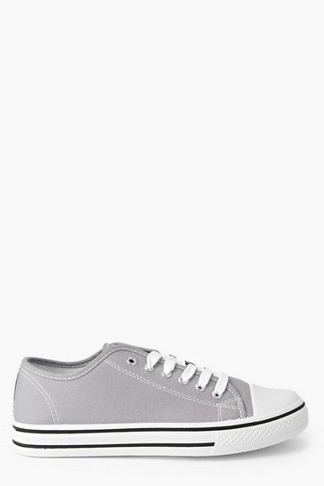 Grey Lace Up Canvas Flat Trainers