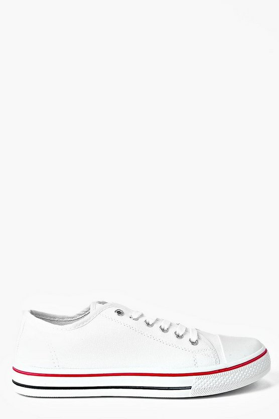 Womens White Lace Up Canvas Flat Sneakers