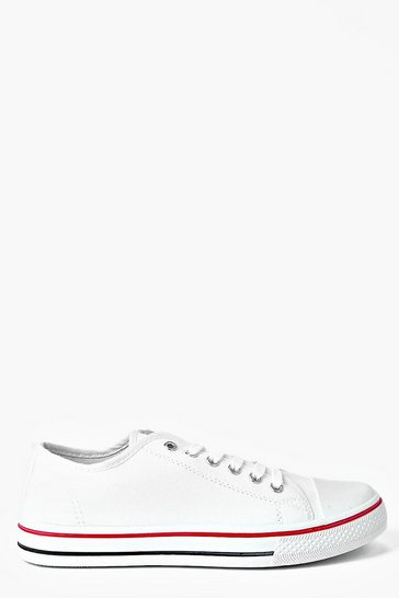 Womens White Lace Up Canvas Flat Trainers
