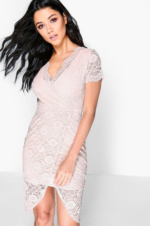 Aneta Lace Wrap Asymmetric Midi Dress Boohoo