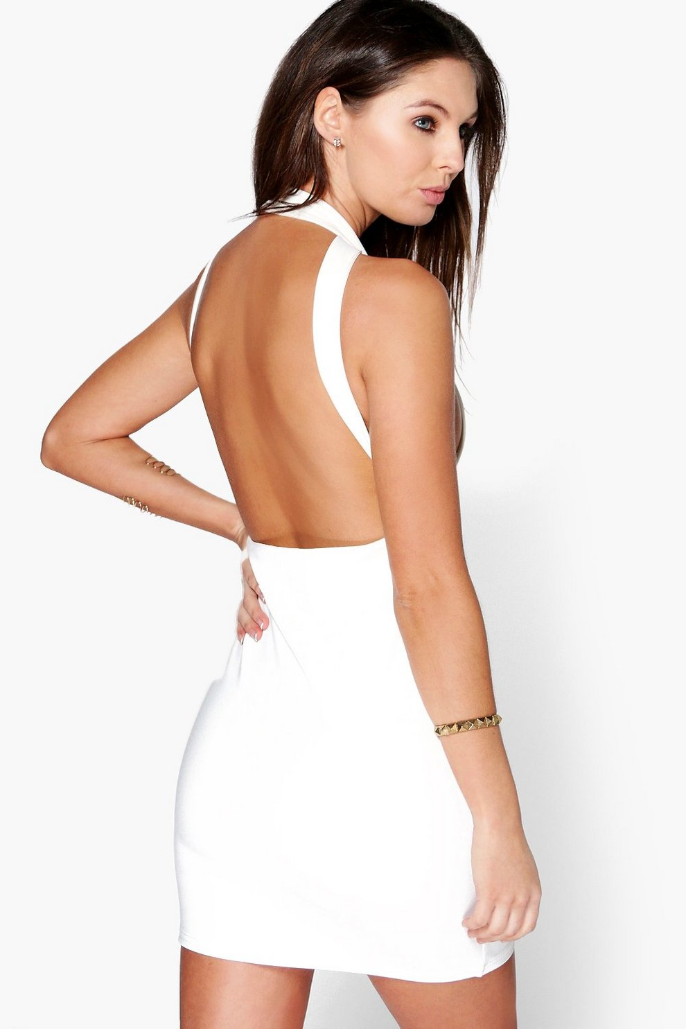 012d9204c85e Womens Ivory Jo Strappy Open Back Detail Bodycon Dress. Hover to zoom