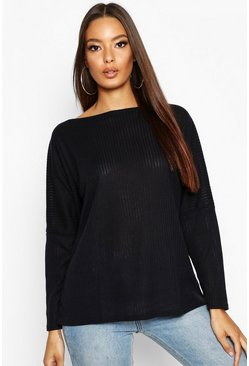Black Oversized Rib Top