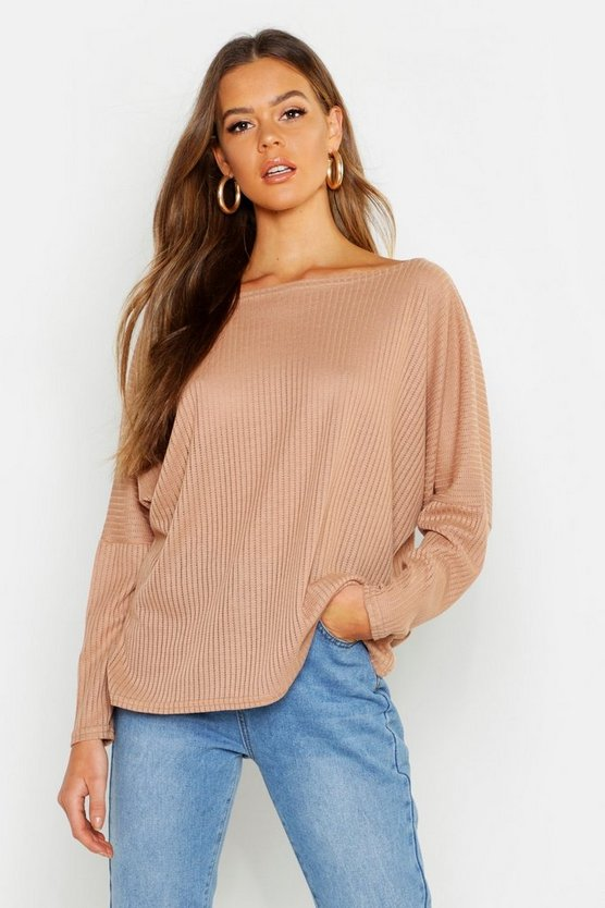 Womens Camel Oversized Rib Top
