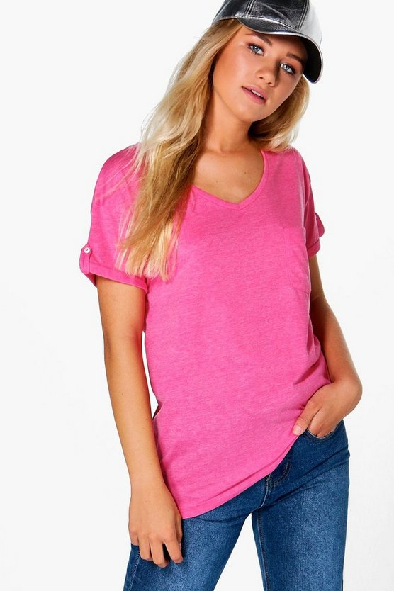 Womens Pink Ella V Neck Pocket Jersey Tee