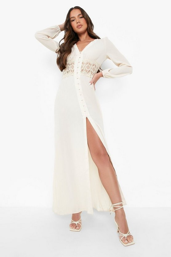 Womens Ecru Lace Waist Button Maxi Dress