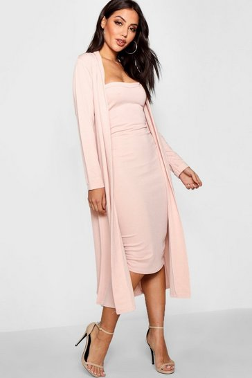 Womens Blush Bandeau Dress & Duster Co-Ord Set