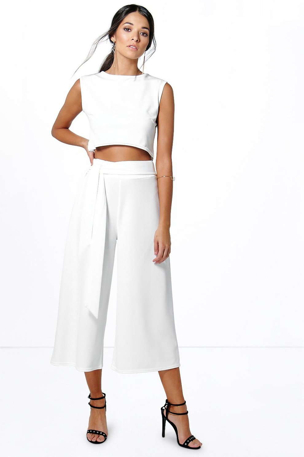 ea24effc74b Womens Ivory Mia Tie Front Culotte & Boxy Top Co-Ord Set