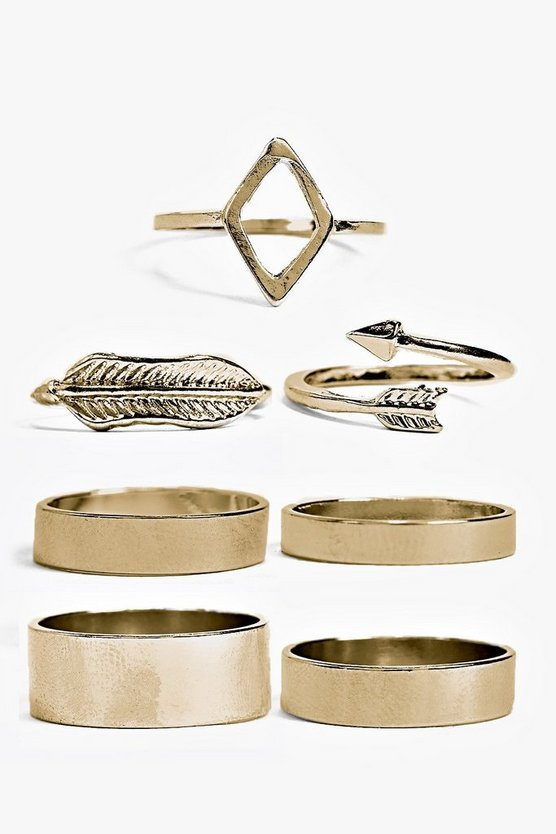 Womens Gold Neve Normal And Midi Mixed Ring Set