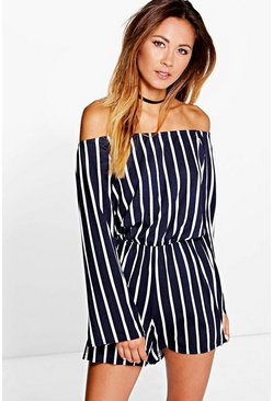 Womens Navy Stripe Off The Shoulder Playsuit