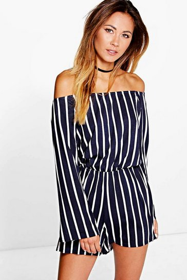 Navy Stripe Off The Shoulder Playsuit